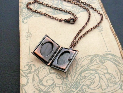 Book Locket necklace in copper: ornate, copper-plated book locket on antiqued-copper coloured chain