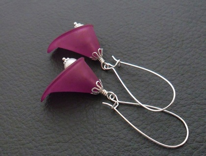 Plum Lily earrings: purple calla lilies with white glass pearls, on long, silver plated ear-wires