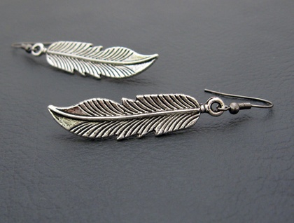Silver Feather earrings: antiqued-silver feather charms on black hooks