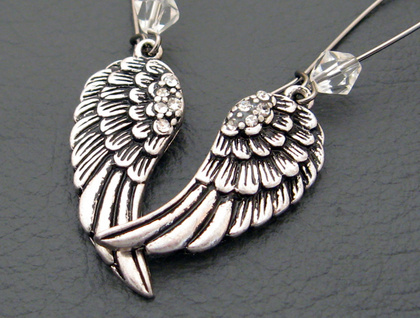 Night-angel earrings: silver angel wings with rhinestones and crystals
