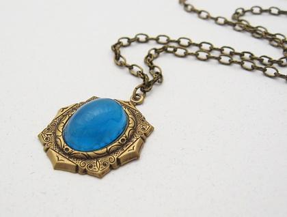 Azure Jewel necklace: bright blue vintage cabochon