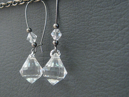 Sheer Ice earrings: clear, faceted drops with crystals on long ear-wires