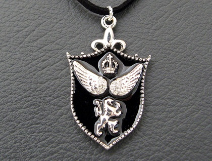 Black Gothic Shield necklace: heraldic pendant with rhinestones on faux suede