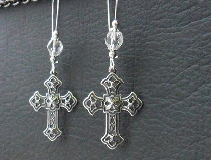 Silver Chapel earrings: antiqued silver-plated crosses with sparkling glass and silver on long ear-wires