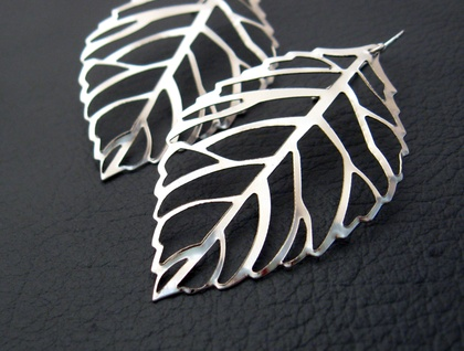 Winter Leaf earrings: silver skeleton leaves on sterling hooks
