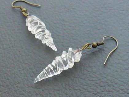 Alicorn earrings: handmade, clear glass unicorn horns on antiqued-brass coloured hooks