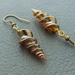 Alicorn earrings: handmade, brown glass unicorn horns on antiqued-brass coloured hooks