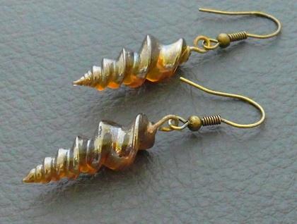 Alicorn earrings: handmade, brown glass unicorn horns on antiqued-brass coloured hooks