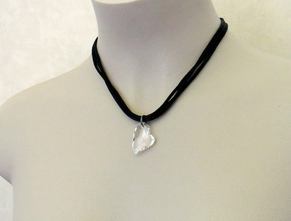 Lucid Heart necklace: sparkling, clear, Swarovski crystal heart pendant on black satin cords