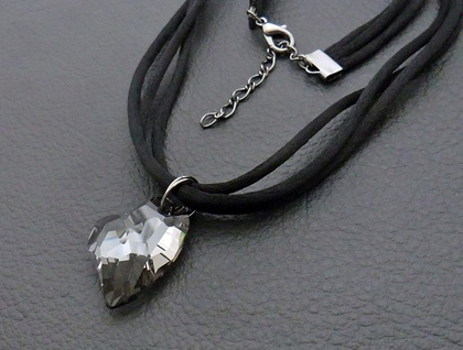 Longing Heart necklace: sparkly, Swarovski crystal heart pendant in moody grey on black satin cords