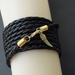 Leatheroid Wrap Bracelet in gold: black imitation leather with gold-plated clasp and angel wing – last one!