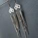 Tangled Chain earrings: long, messy chain earrings in silver, gunmetal black, and platinum