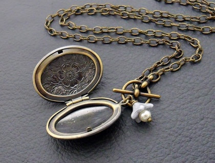 Flora necklace: vintage style, antiqued-brass floral locket necklace with blue glass flower accent