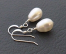 Simple Pearl earrings in silver: your choice of colour. Sterling silver hooks and teardrop Swarovski pearls
