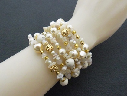 Gold Luxe: memory-wire wrap bracelet loaded with creamy pearls, moonstone, and gold