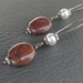 Old Blood earrings: brecciated jasper drops with white glass pearls – unusual and gothic-inspired