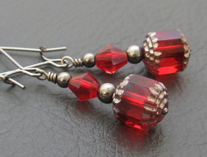 Carmen earrings: deep red glass and crystal with gunmetal black beads on long ear-wires