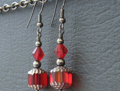 Carmen earrings: luscious deep red glass and crystal with gunmetal black beads on short hooks