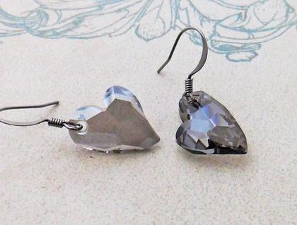 Longing Heart earrings: sparkly, Swarovski crystal hearts in shimmering grey on gunmetal hooks