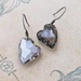 Longing Heart earrings: sparkly, Swarovski crystal hearts in shimmering grey on gunmetal hooks