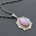 Dragon Opal: vintage imitation opal on antiqued, silver-plated rope chain – one of a kind necklace