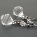 Sheer Ice earrings: clear, faceted drops with crystals on long gunmetal-black ear-wires