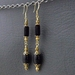 Lady Charna: sophisticated earrings in black glass and gold plate – one of a kind