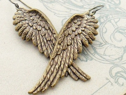 Regal Wings: magnificent, antiqued brass wing earrings – one of a kind