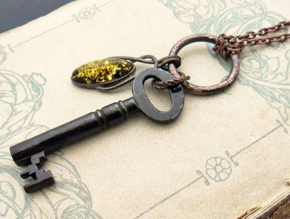 Inbar: vintage-inspired necklace in antiqued copper with old key and faux amber pendant – OOAK