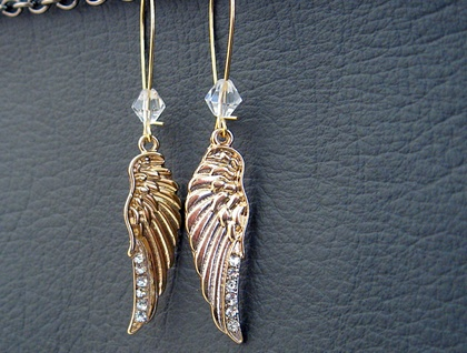 Wings Of Gold: elegant golden angel-wing earrings with rhinestones and crystals – last pair!