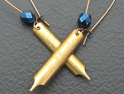 Pen And Ink earrings: real, vintage, brass pen-nibs with inky blue Czech glass