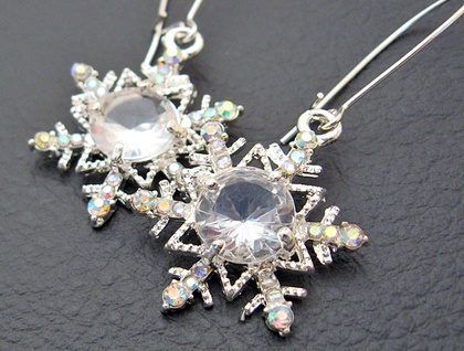 The Snow Queen's Earrings: glittering rhinestone snowflakes on silver ear-wires – one of a kind