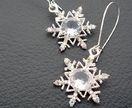 The Snow Queen's Earrings: glittering rhinestone snowflakes on silver ear-wires – unique and one of a kind