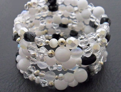 Snow: a glittering memory-wire wrap bracelet in pearly and sparkly whites – one of a kind