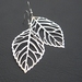 Winter Leaf earrings: silver skeleton leaves on sterling silver plated hooks – last pair!