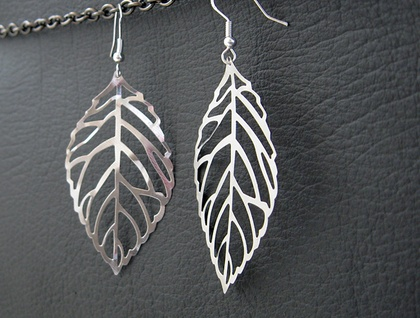 Winter Leaf earrings: silver skeleton leaves on sterling silver plated hooks