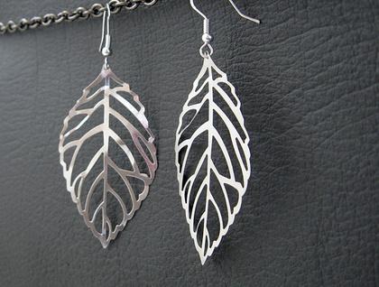 Winter Leaf earrings: silver skeleton leaves on sterling silver plated hooks –last pair!