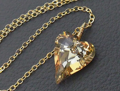 Shining Heart necklace: sparkly, Swarovski crystal heart pendant in light gold on gold-filled chain