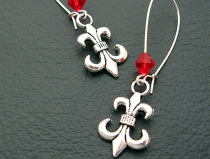 The Scarlet Jester earrings: antiqued-silver fleur-de-lys with red crystals