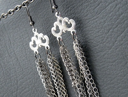 Tangled Chain earrings: long, messy chain earrings in silver, gunmetal black, and platinum