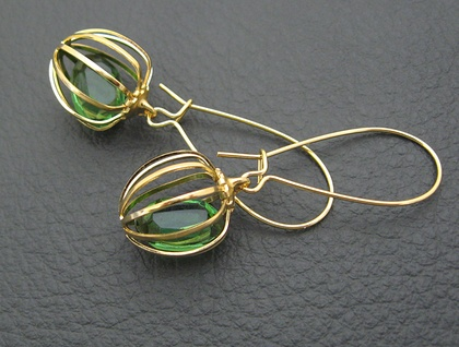Captive Jewel earrings: vintage green Swarovski crystals in gilt cages