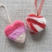 Needle-felted heart ornaments in pinks and red – choose your colour!