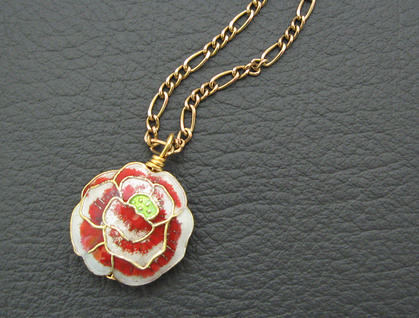 One Red Rose necklace: romantic cloisonné pendant on old gold chain