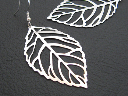 Winter Leaf earrings: silver skeleton leaves on sterling ear hooks