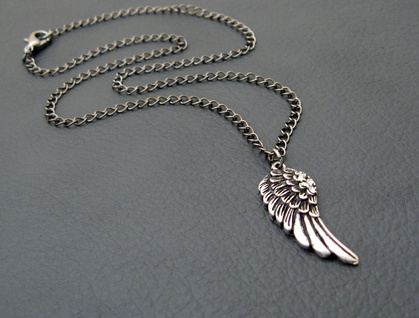 Night-angel necklace: silver angel wing pendant with rhinestones