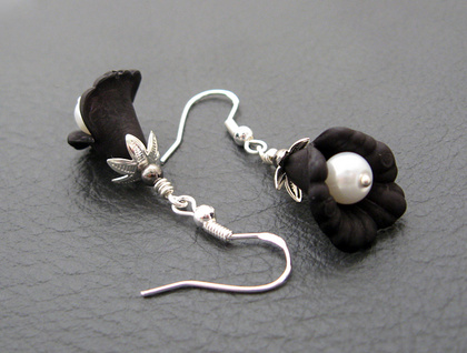 Midnight Bloom earrings: black and silver flowers with white faux pearls