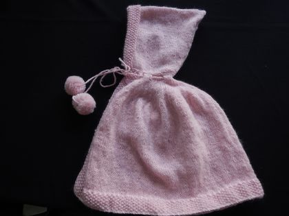100% WOOL - CAPE WITH POMPOM TIES 6 - 12 MTHS