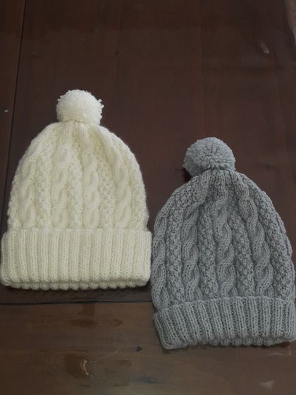 CABLED BEANIE 0 -3 MONTHS & 3- 6  MONTHS