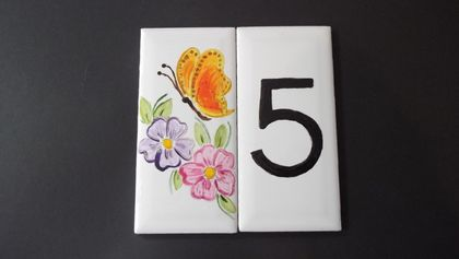 Letterbox Numbers Individual Handpainted numbers with picture, Stags