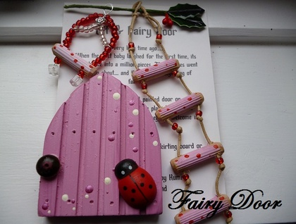 Handmade fairy elf door gift set pink flower petal felt for Fairy door gift set